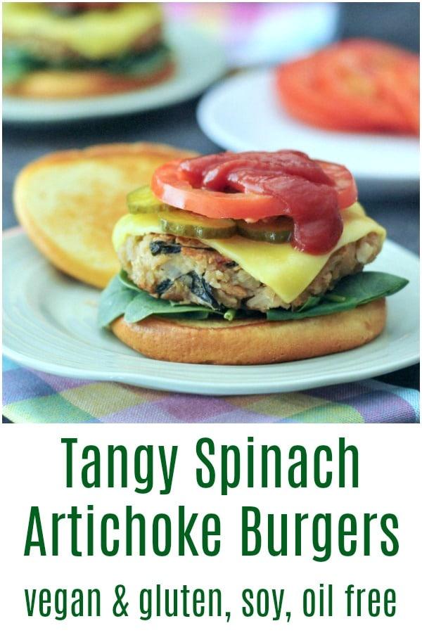 Tangy Spinach Artichoke Burgers @spabettie #vegan #glutenfree #soyfree #oilfree #burger