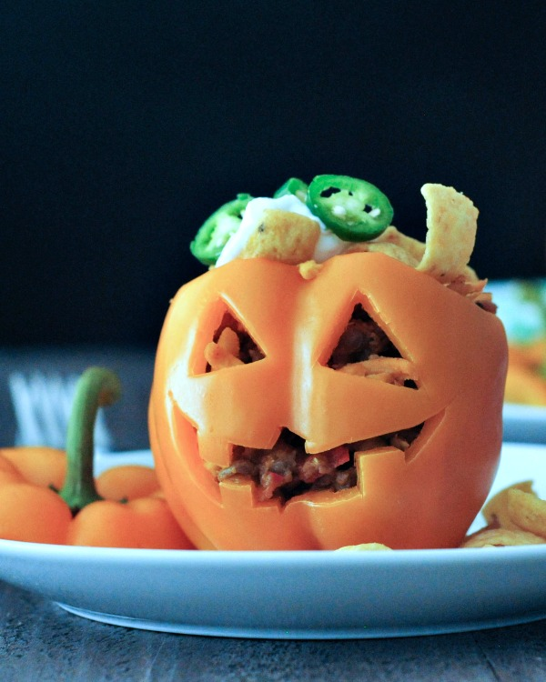 Frito Pie Bell Pepper Jack O Lanterns