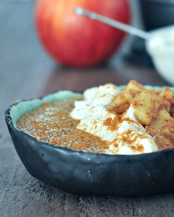 bowl of Apple Chia Pudding with yogurt and sliced apples