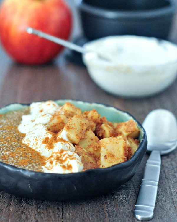 Roasted Apple Cider Chia Pudding @spabettie