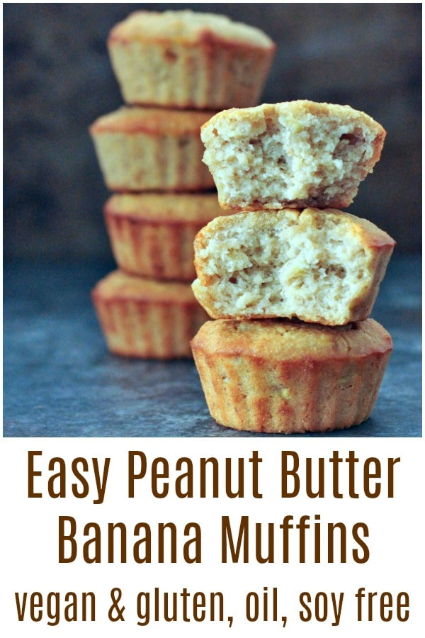 Easy Peanut Butter Banana Muffins @spabettie #vegan #glutenfree #soyfree #oilfree #breakfast