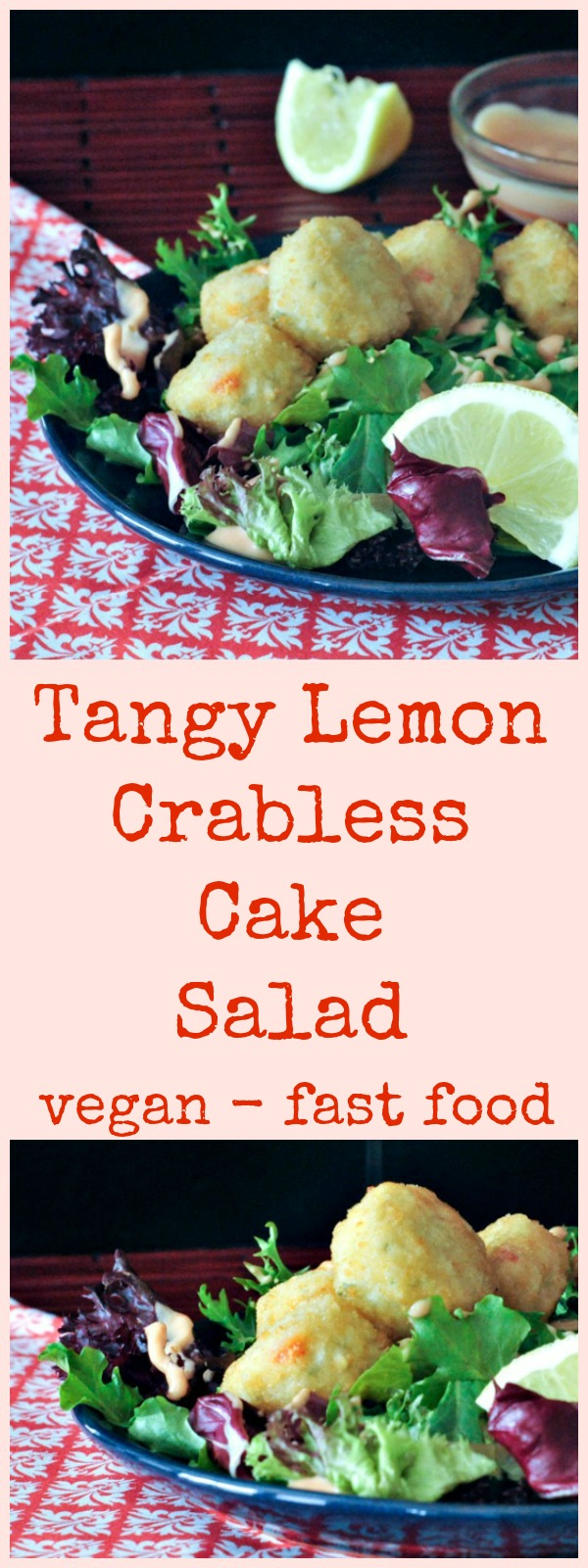 Tangy Lemon Crabless Cake Salad @spabettie #vegan #dairyfree #easy