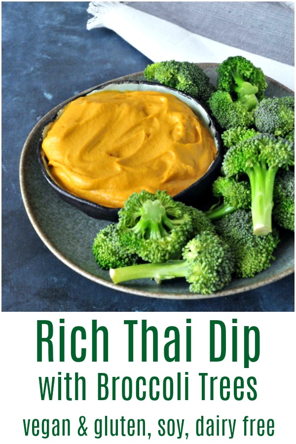 Rich Thai Dip with Broccoli Trees @spabettie #vegan #glutenfree #soyfree #dairyfree #snack