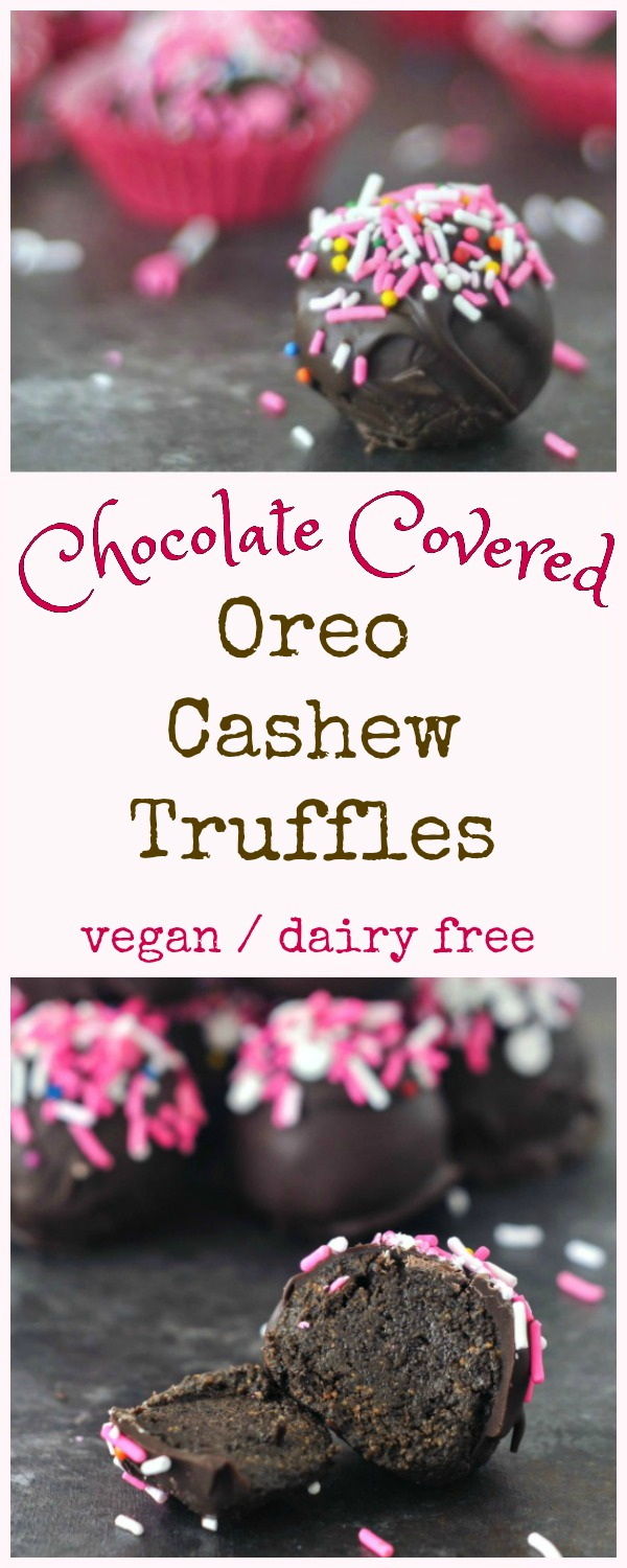 Chocolate Covered Oreo Cashew Truffles with pink sprinkles