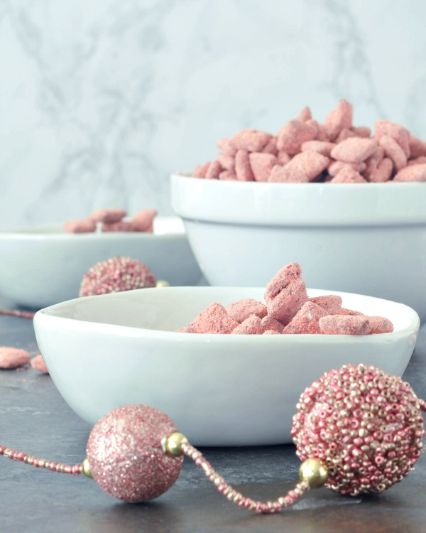 Powder Pink Strawberry Puppy Chow in bowls