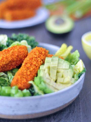 Vegan Buffalo Wing Salad @spabettie #vegan #glutenfree