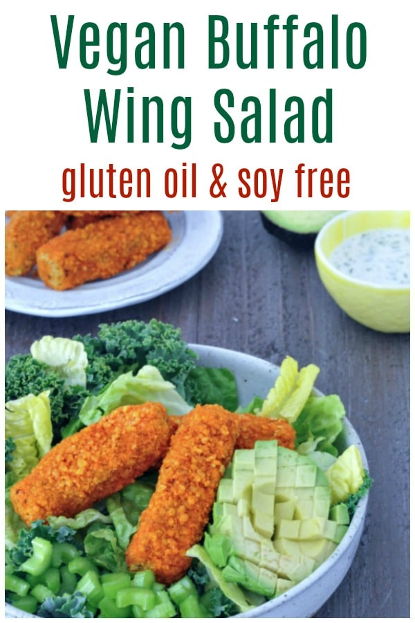Vegan Buffalo Wing Salad @spabettie #vegan #glutenfree #soyfree #oilfree #buffalowing #comfortfood