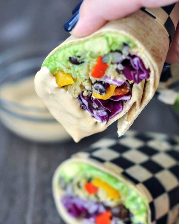 Smoky Tangy Chipotle Lime Burritos @spabettie #vegan #airfryer