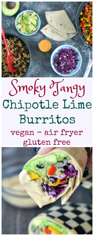 Smoky Tangy Chipotle Lime Burritos @spabettie #vegan #glutenfree #dairyfree #burrito #airfryer