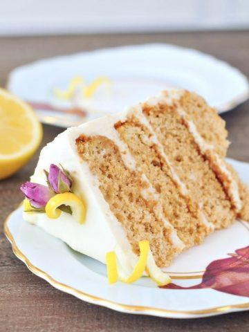Lemon Elderflower Layer Cake @spabettie #vegan #glutenfree #royalwedding #cake #dessert