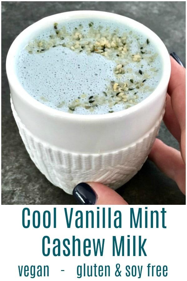 Cool Vanilla Mint Cashew Milk @spabettie #vegan #dairyfree #glutenfree #soyfree
