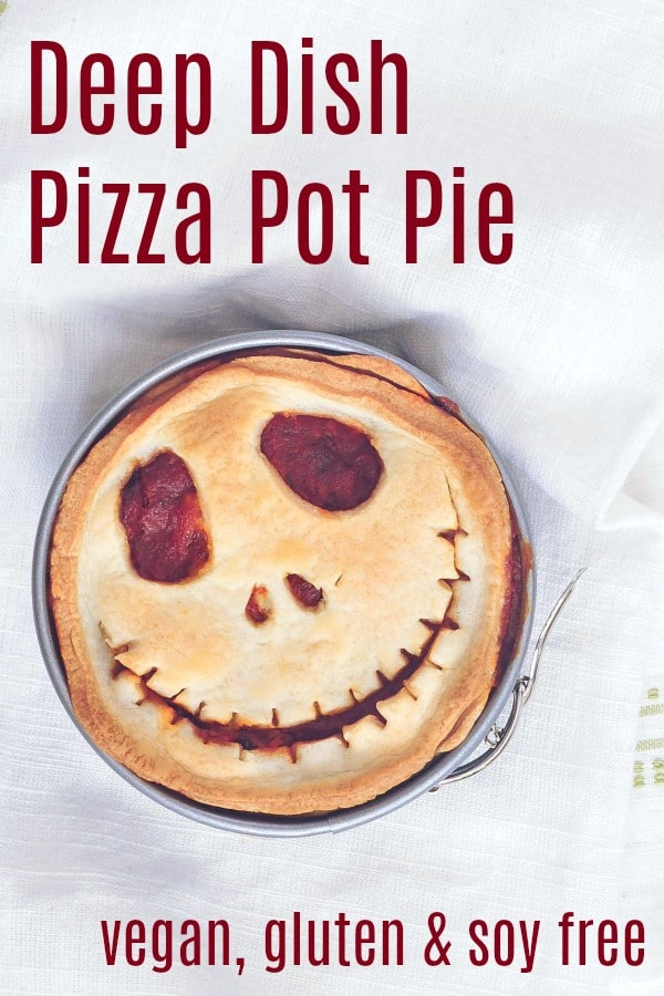 Deep Dish Pizza Pot Pie @spabettie #vegan #glutenfree #soyfree #gameday #comfortfood #Halloween