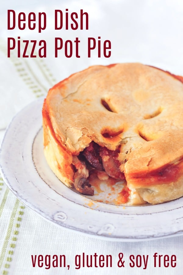 Deep Dish Pizza Pot Pie @spabettie #vegan #glutenfree #soyfree #gameday #comfortfood