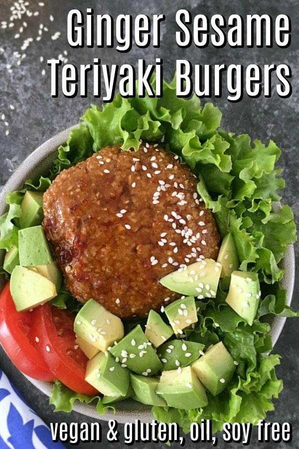 Ginger Sesame Teriyaki Burgers @spabettie #comfortfood #glutenfree #vegan #gameday #oilfree #soyfree