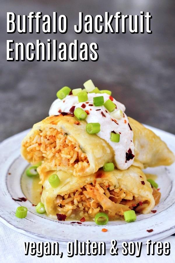 Vegan Buffalo Jackfruit Enchiladas @spabettie #vegan #glutenfree #soyfree #comfortfood