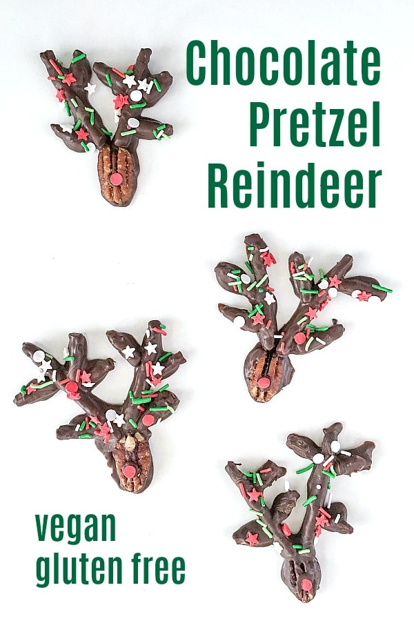 Chocolate Pretzel Reindeer made from dipping pecans and pretzels into chocolate, cover with festive sprinkles