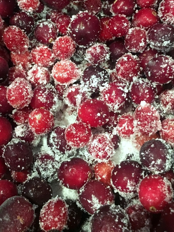 fresh cranberries coated in sugar