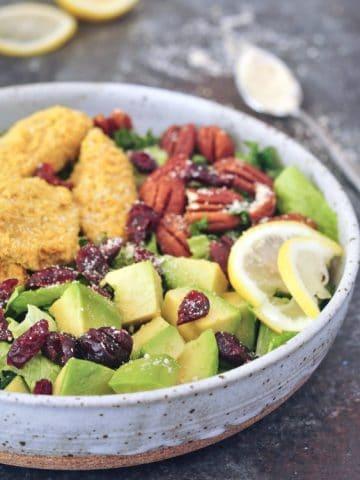 Vegan Chicken Cranberry Salad @spabettie #vegan #glutenfree #soyfree #oilfree #entree #salad