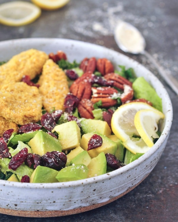 Vegan Chicken Cranberry Salad @spabettie #vegan #glutenfree #soyfree #oilfree #entree #salad