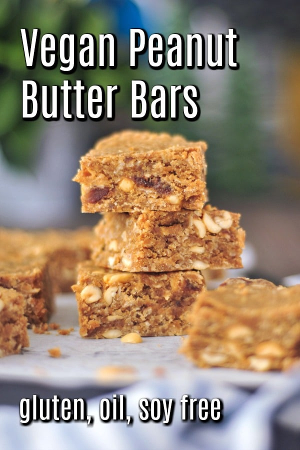 Vegan Peanut Butter Bars @spabettie #vegan #glutenfree #oilfree #soyfree #snack