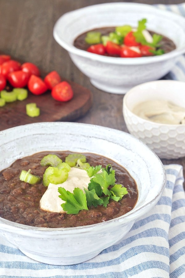Chipotle Black Bean Soup in bowls