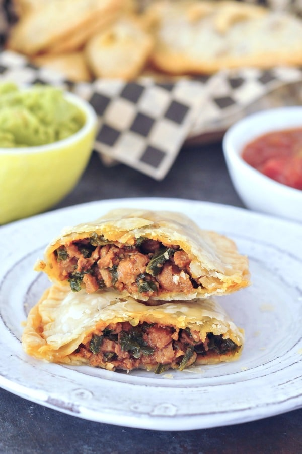 Vegan Taco Hand Pie sliced in half to show taco filling
