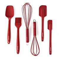 Silicone Whisk Spatula Spoonula Brush Set of 6 - Red
