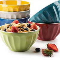 KooK Ceramic Bowls, Assorted Colors, Great for Cereal, Fruit, Dessert, Set of 6