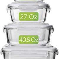 Glass Meal Prep Food Containers with Lids [4-Pack]