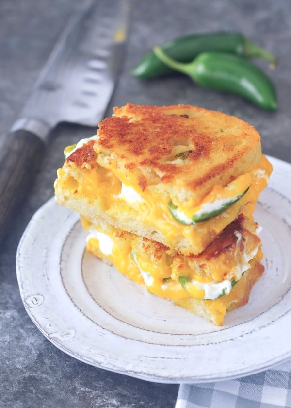 Jalapeno Popper Sandwich: melty cheese, jalapeno poppers, and golden toasted bread