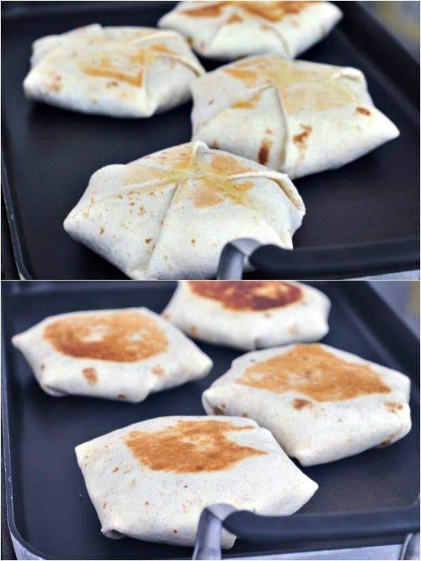 Are Crunchwraps Vegan? photo shows the grilling of a vegan crunchwrap