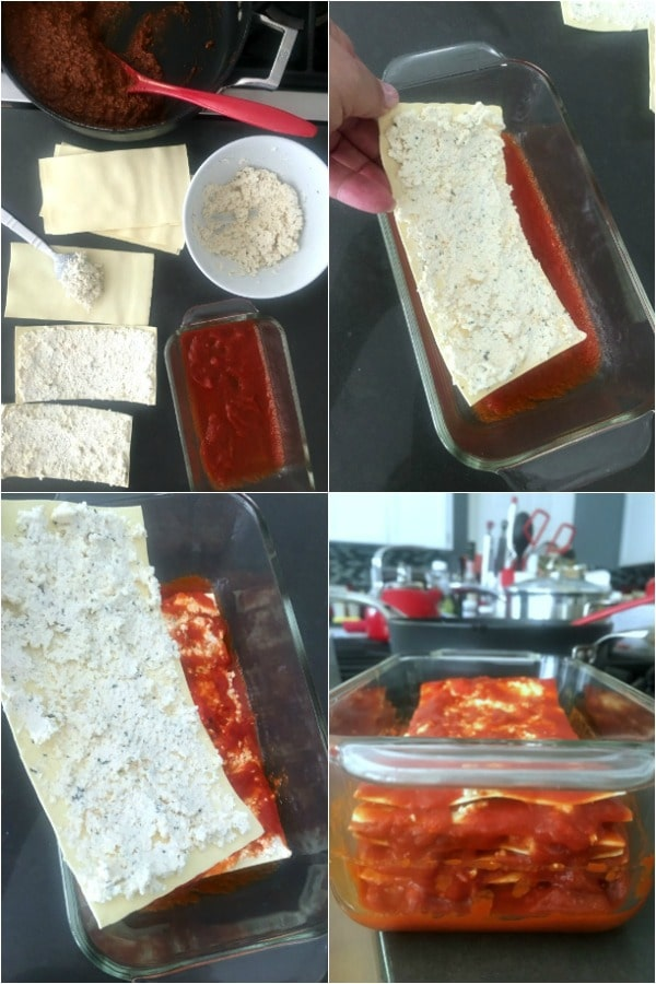 How To Make Lasagna: four photo collage showing step by step assembly