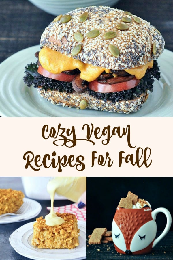 a photo collage of Cozy Vegan Recipes for Fall: a mushroom melt, pumpkin baked oatmeal, toasty graham latte