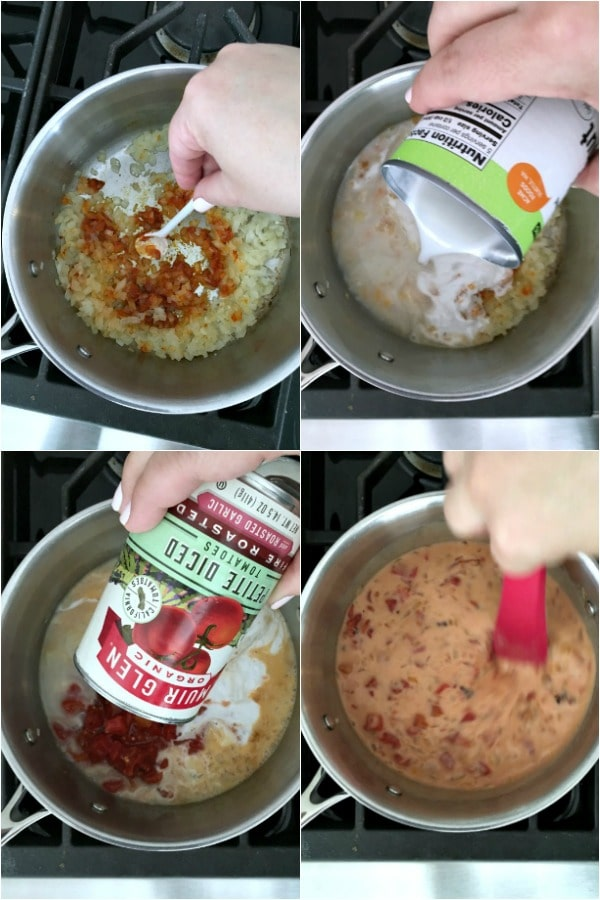 collage of photos for How To Make Sweet Potato Soup: add curry, coconut milk, diced tomato, stir
