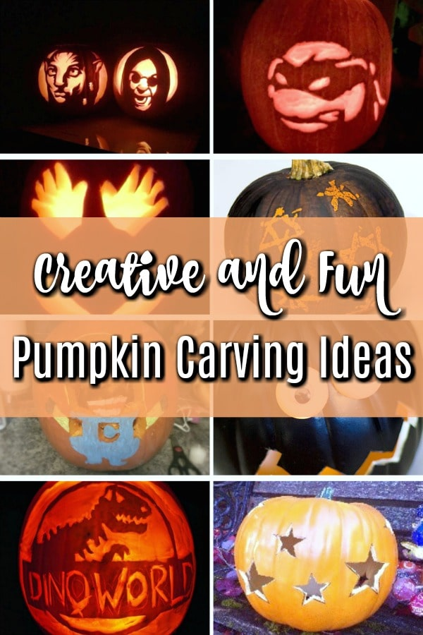 photo collage showing creative pumpkin carving ideas