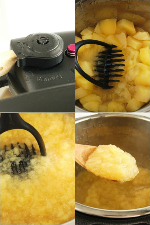 four photos of How To Make Instant Pot Applesauce