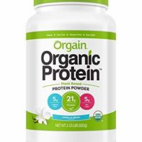 Organic Plant Based Protein Powder, Vanilla Bean - Vegan, Low Net Carbs, Gluten Free, No Sugar Added, Soy Free