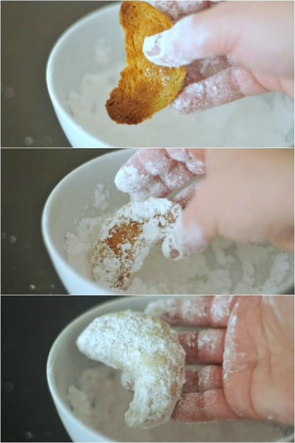three photos showing how to make vegan crescent cookies: fresh baked cookie, dipping into bowl of powdered sugar