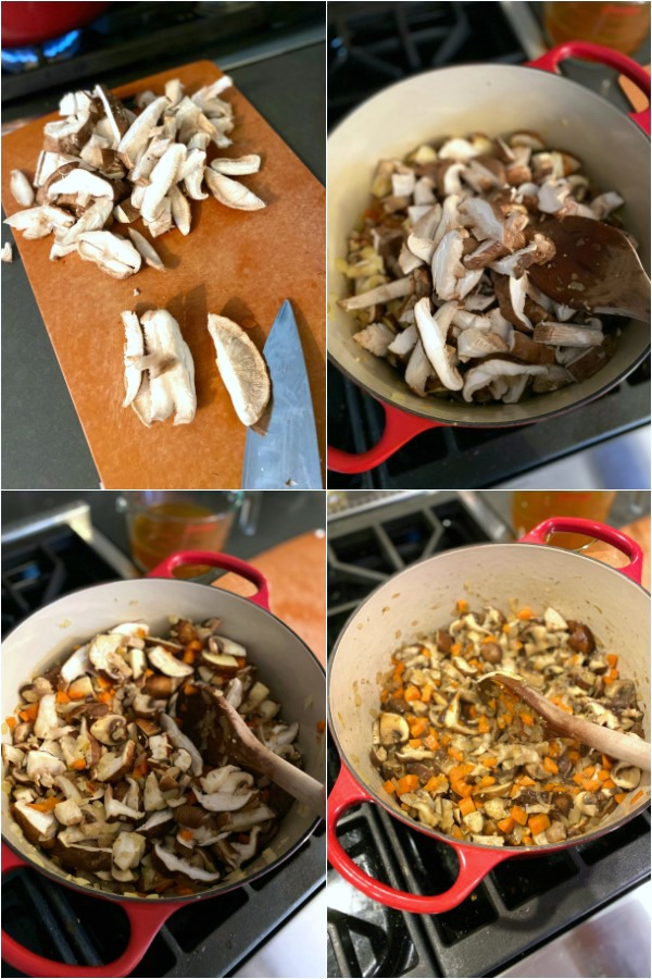 photo collage showing How To Make Vegan Stew: slice mushrooms, add to sautéed carrots and onion, cook