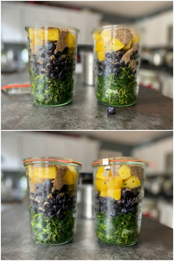 two photos of batch prep: glass jars filled with smoothie ingredients ready for the freezer