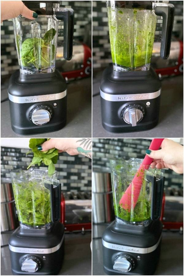 How To Make Green Mac and Cheese: several photos of blending spinach to a liquid