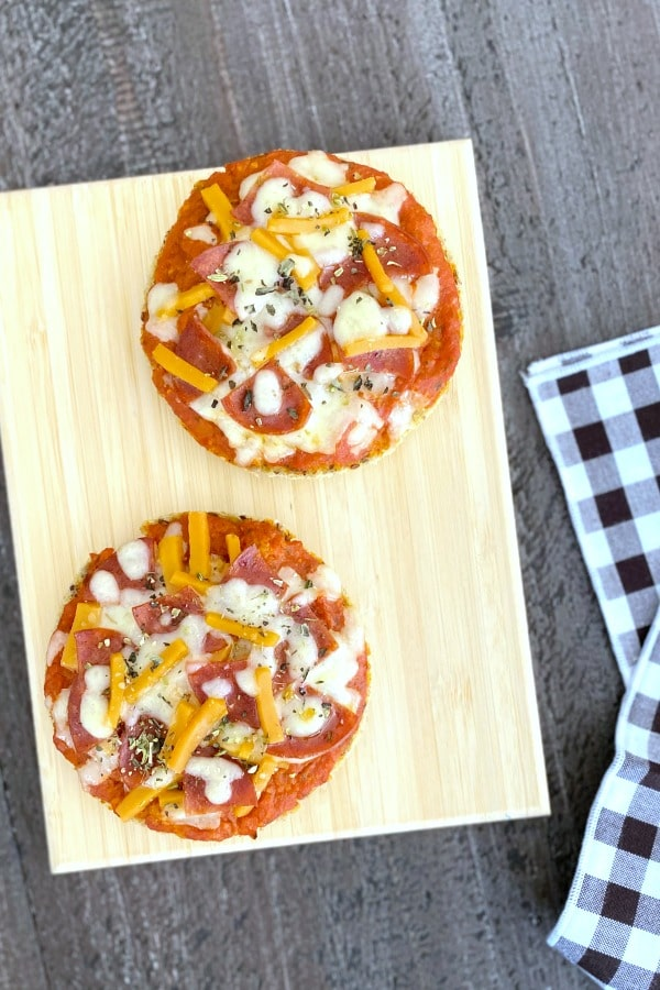 English Muffin Pizza on a cutting board