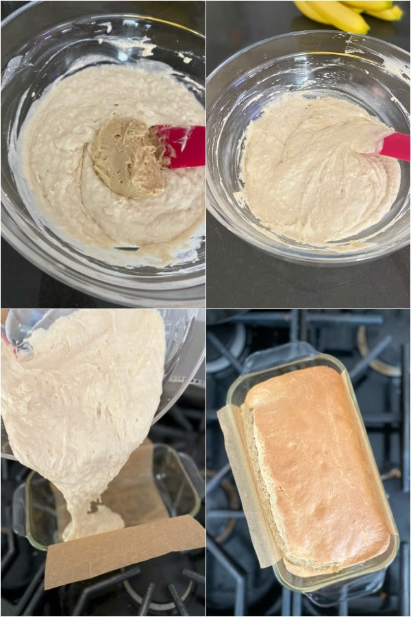 how to bake peanut butter bread: step by step mixing, pouring into pan, baking