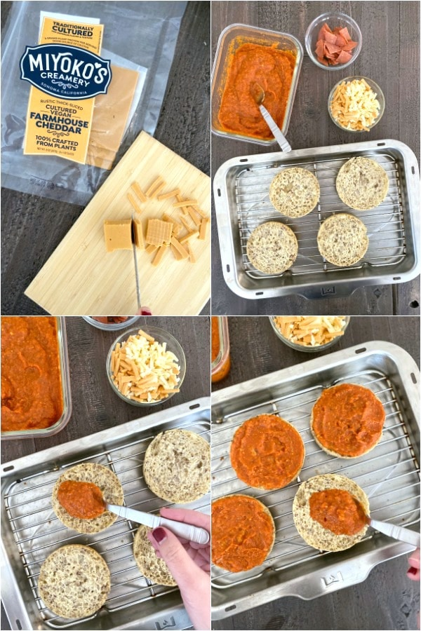 How To Make English Muffin Pizza: grate cheese, add sauce to split muffins