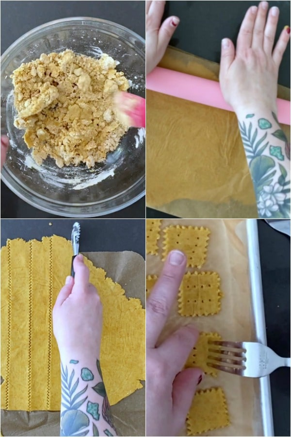 How To Make Cheese Crackers: stir, roll, cut, and bake