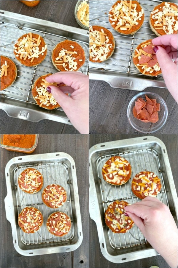Step By Step How To Make Mini Pizza: add cheese and toppings, bake