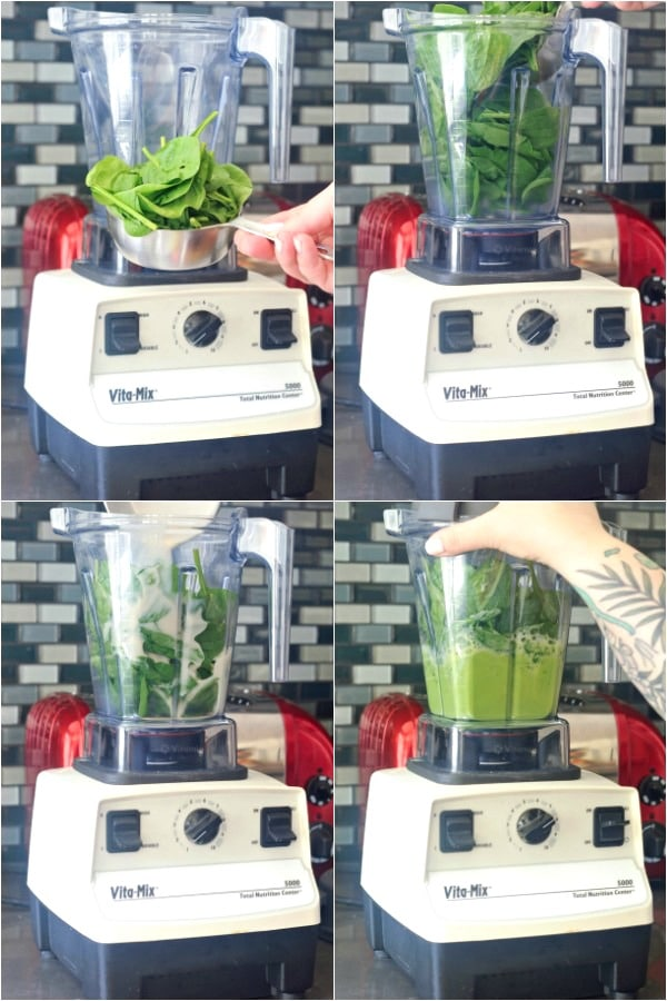 a photo collage showing how to make spinach pancakes: fresh spinach blended with liquids