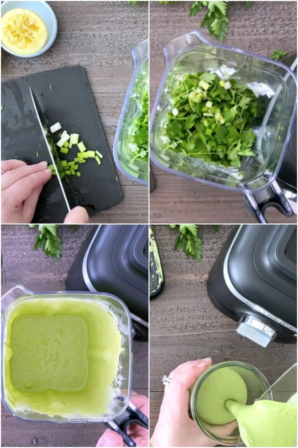 a photo collage showing how to make dairy free Green Goddess dressing or dip: chop green onion, add to blender with other fresh herbs. blend, pour into serving bowl or jar.
