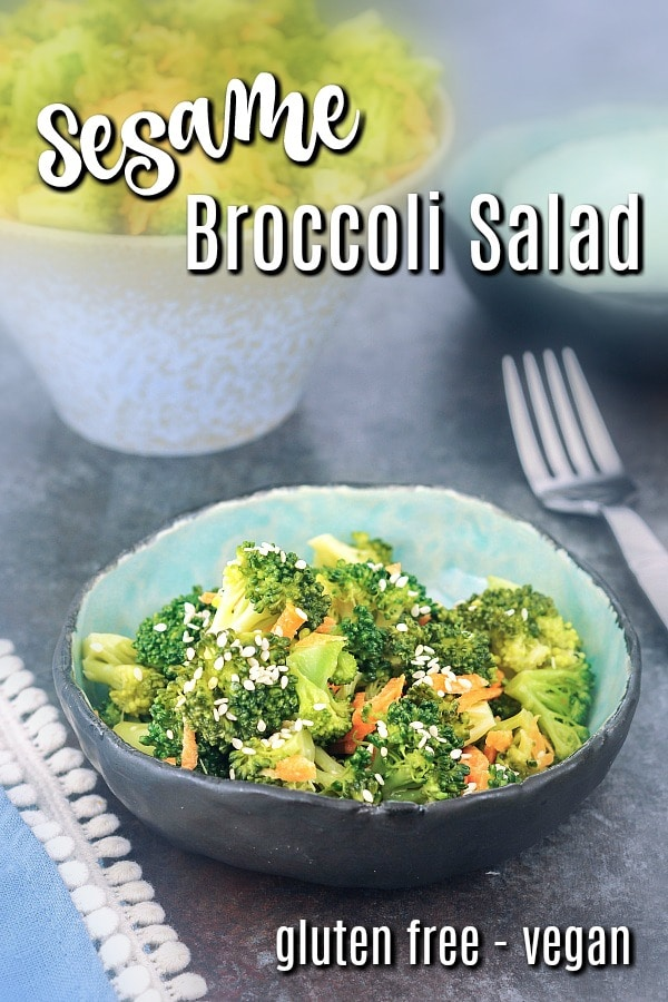 a serving of broccoli salad recipe in a small rustic bowl. recipe uses broccoli, carrot, cashew cream, sesame oil, and maple syrup. also shows how to blanch broccoli