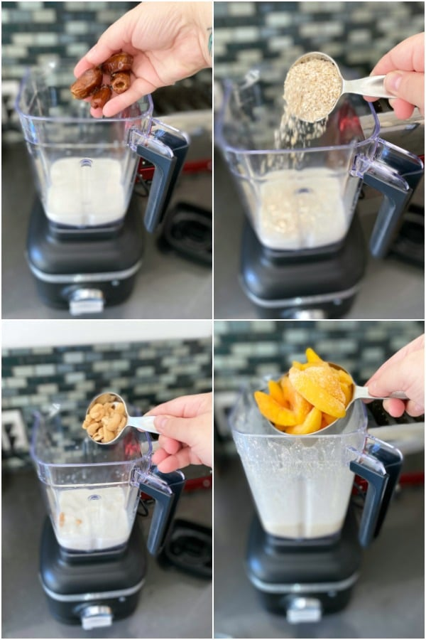 photo collage showing how to make a peach smoothie: add milk and dates to a blender, add oats, cashews, and peaches.